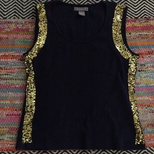 Navy with Gold Sequins Top